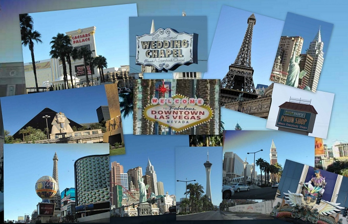 vegas strip collage