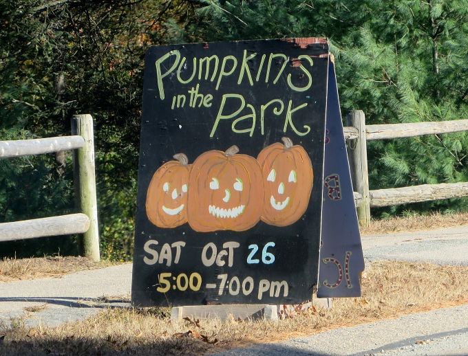 pumpkins in the park sign
