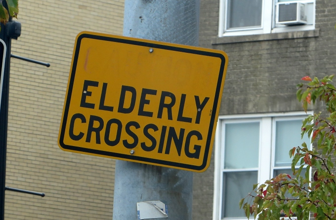 elderly crossing