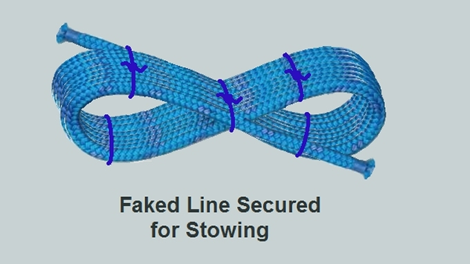 faked line secured for stowing