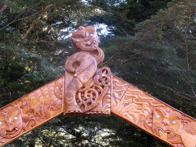 kahurangi national park entrance maori carving