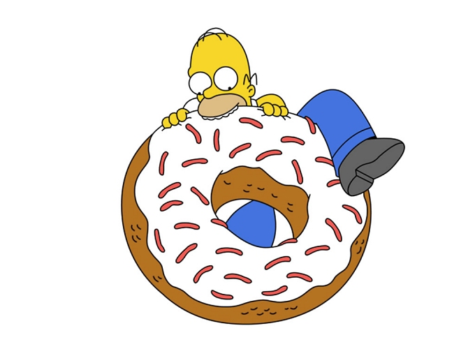 homer simpson eating a donut