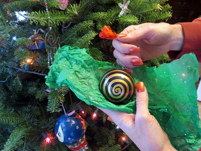 wrapping the ornaments