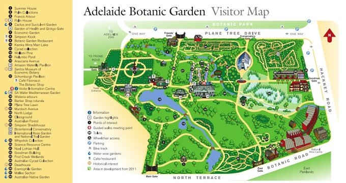 adelaide botanic gardens visitors map