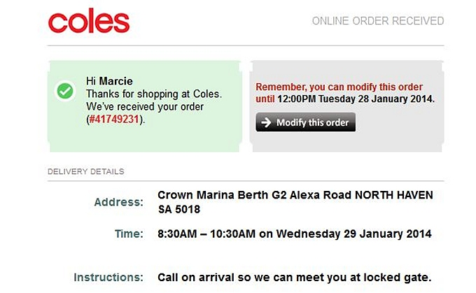 coles delivery confirmation
