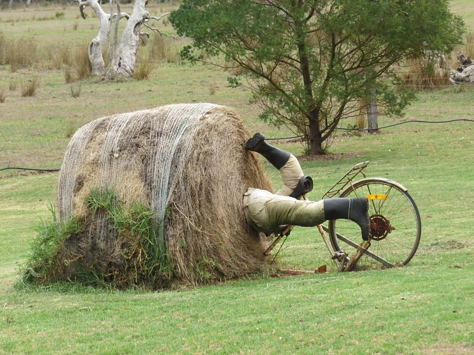 cyclist in a haybale