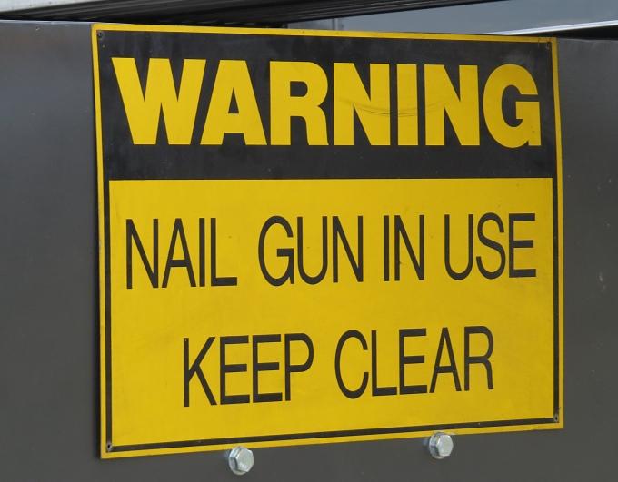 nail gun in use