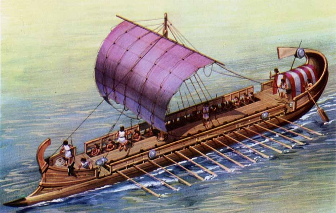 slaves rowing a boat