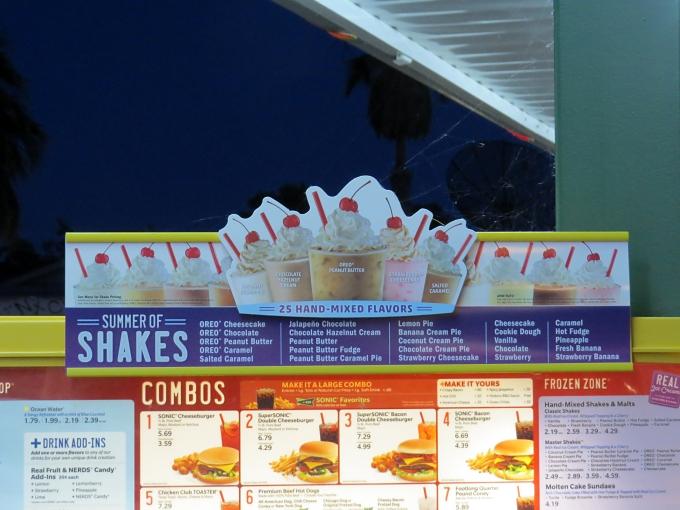 sonic shake menu