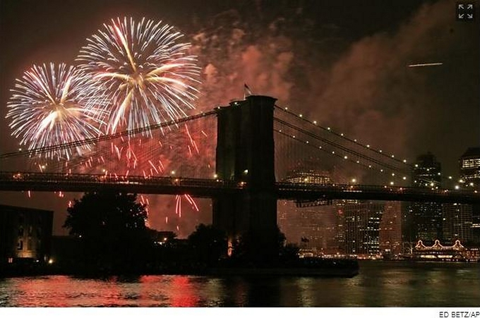 fireworks over the brooklyn bridge
