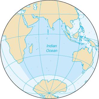 indian ocean globe map