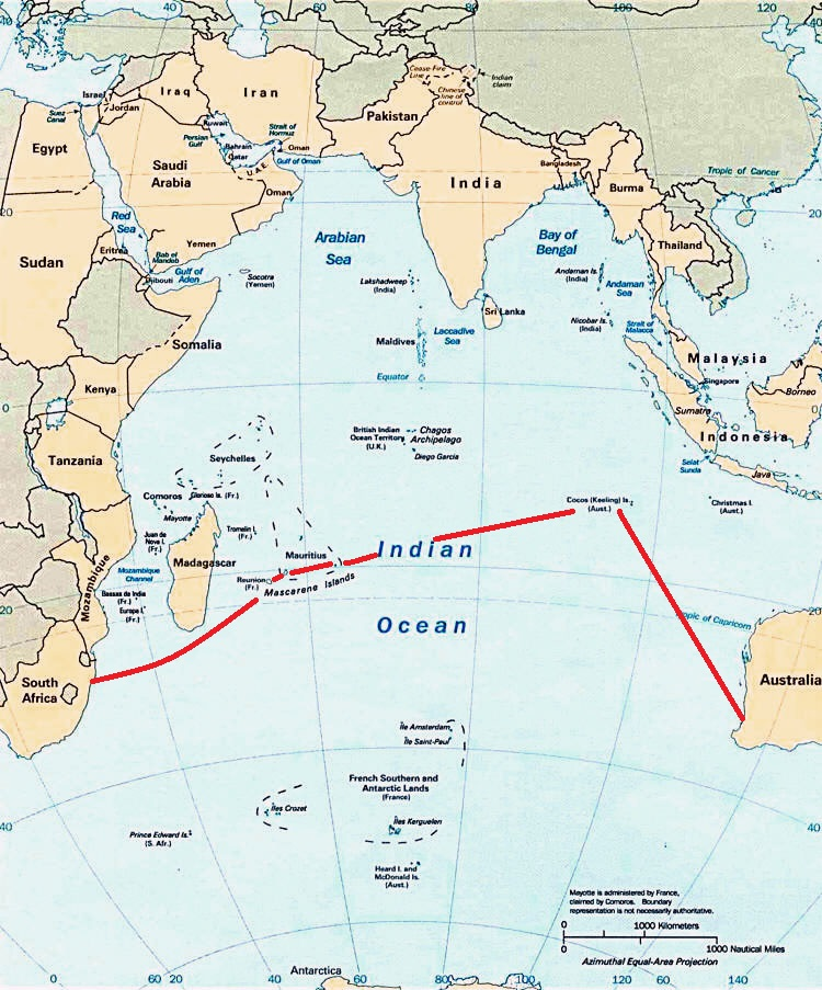 planned route across indian ocean