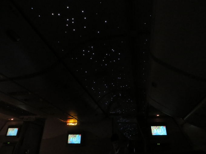 starry lights in the plane cabin