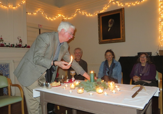 lighting candles at yule in milton massachusetts