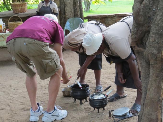 serving up dinner in mlilwane wildlife sanctuary
