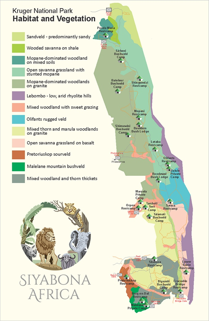 kruger np park biomes map