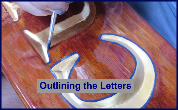 outlining the letters