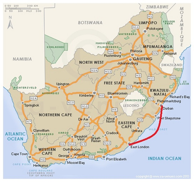 map durban to east london