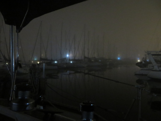 marina fog at night cape town south africa
