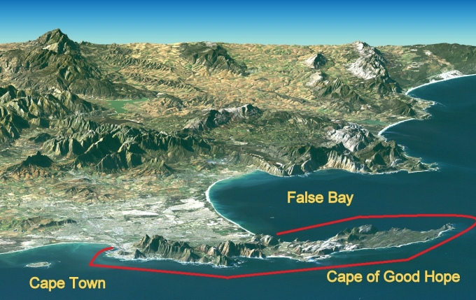 sat image of the cape of good hope