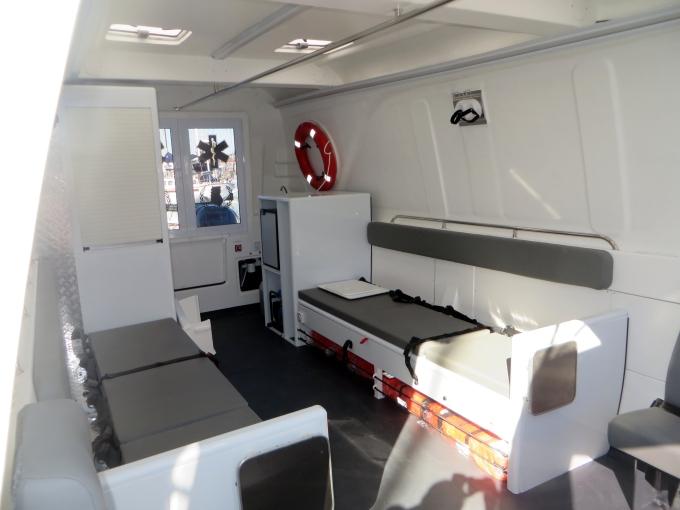 inside the ambulance boat