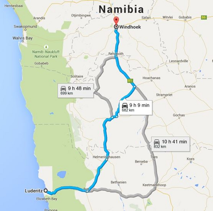 map to windhoek namibia