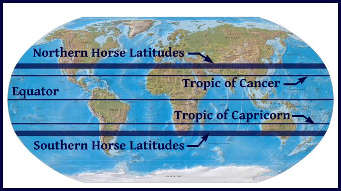 horse latitudes map