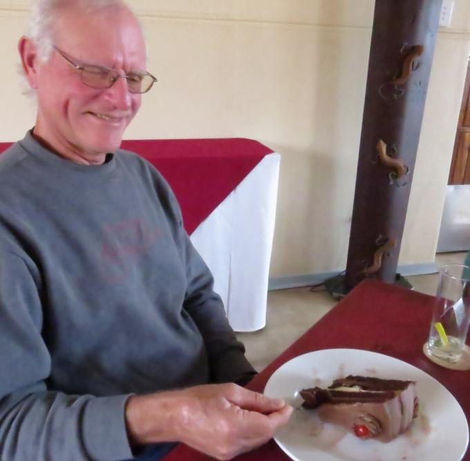 david with chocolate cake