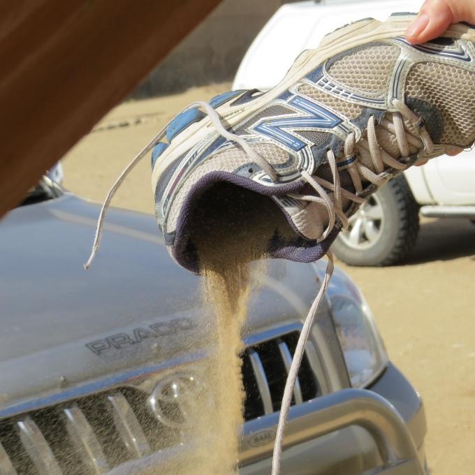 sand in shoe kolmanskop namibia