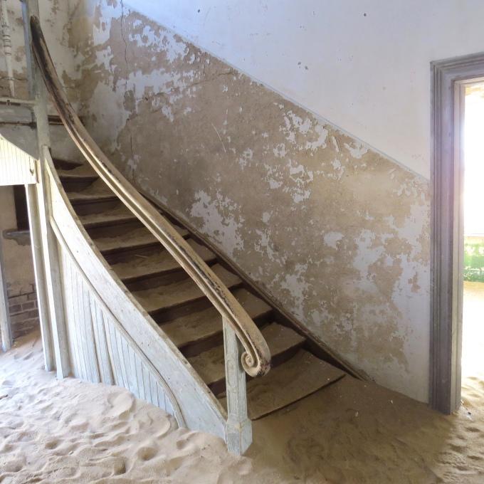 elegant stairway in kolmanskop namibia