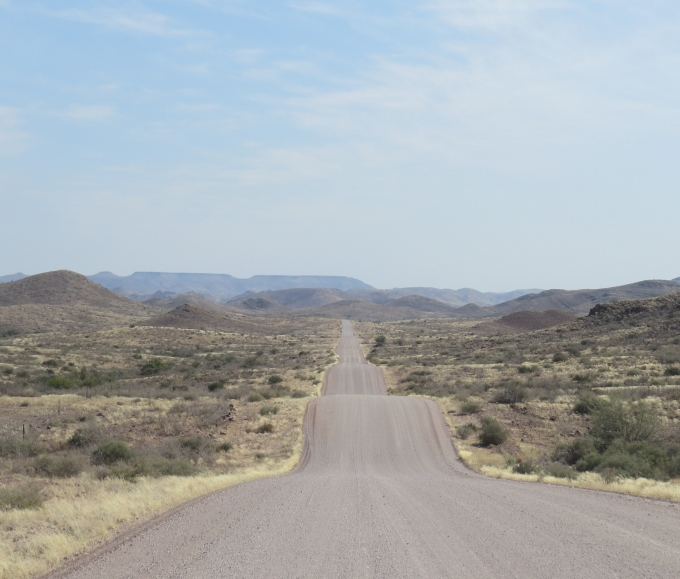 undulating road in namibia