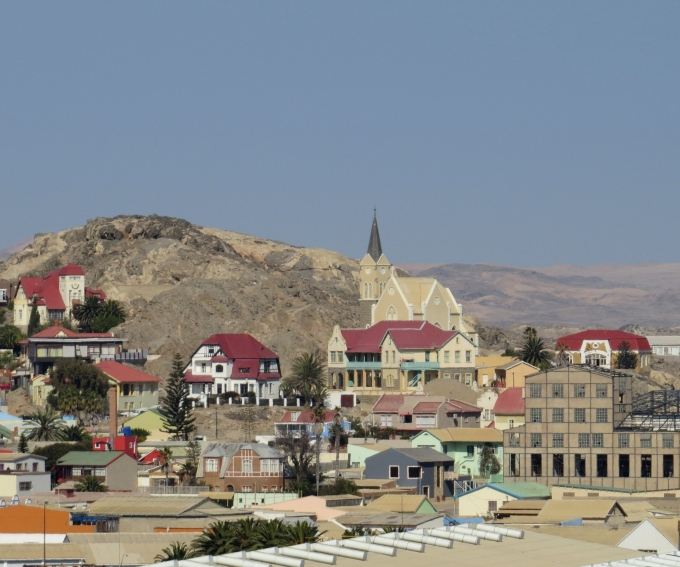 view of felsenkirche from shark island namibia