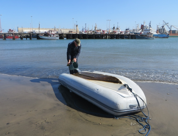 cleaning the dinghy