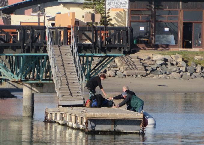 unloading at the dinghy dock