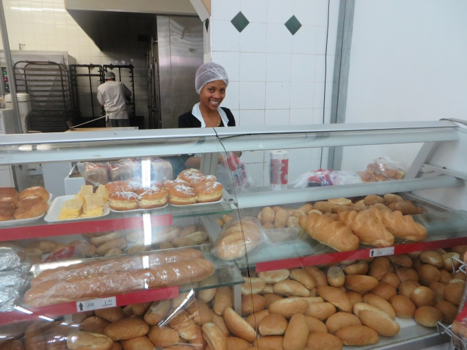 bread counter at ok grocery luderitz namibia