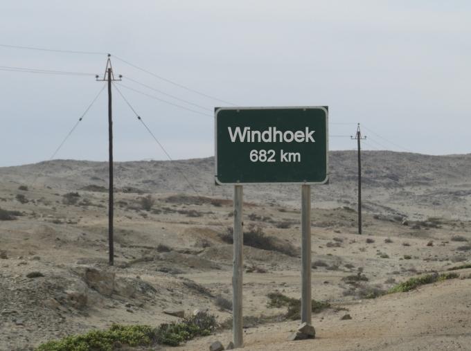 windhoek road sign