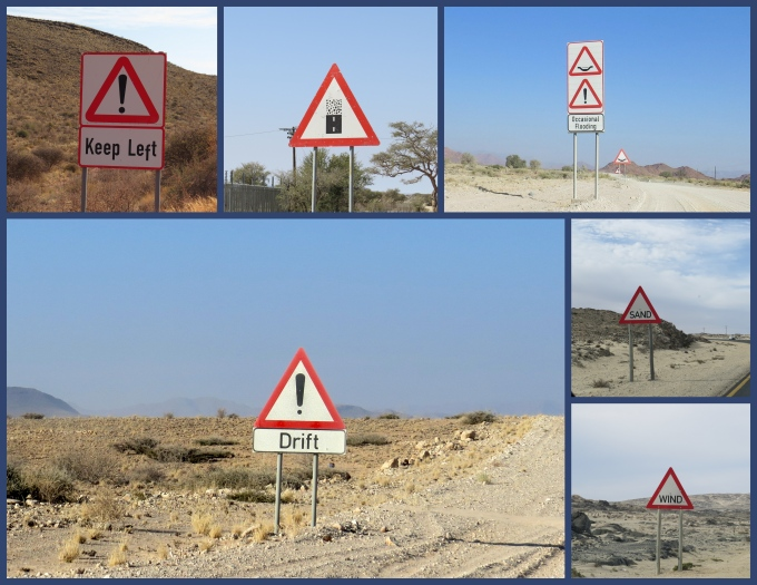 namibia desert signs collage