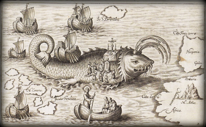 old atlantic map with sea monsters