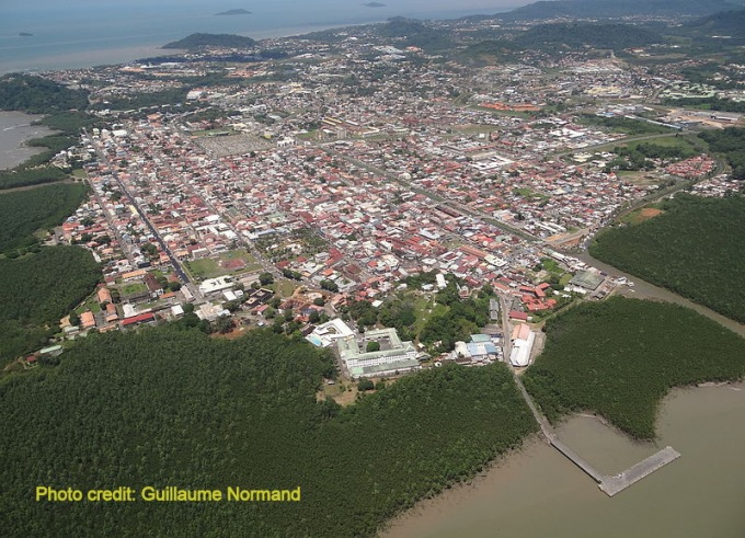 aerial view of cayenne french guiana