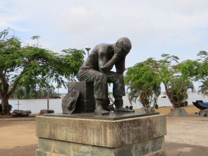 prisoner statue at st laurent dy maroni french guiana