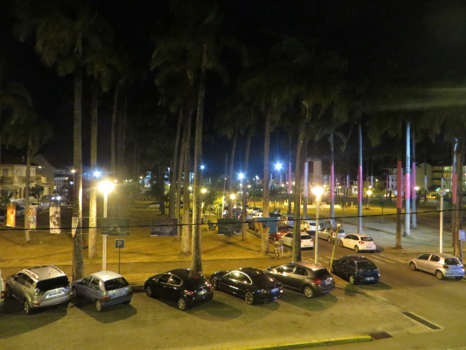 place de palmistes at night in cayenne french guiana