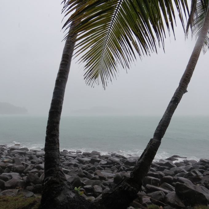 view of devil's island, french guiana in a downpour