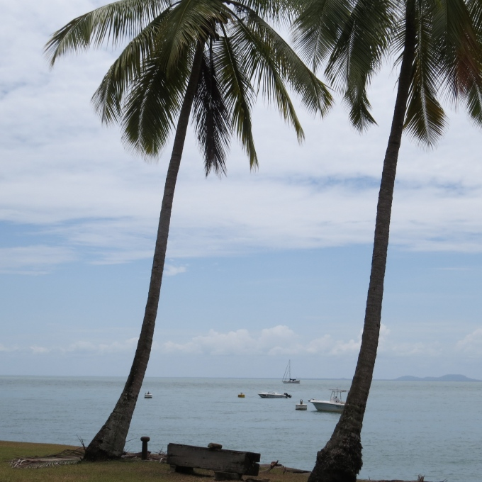 view of nine of cups from ile royale french guiana