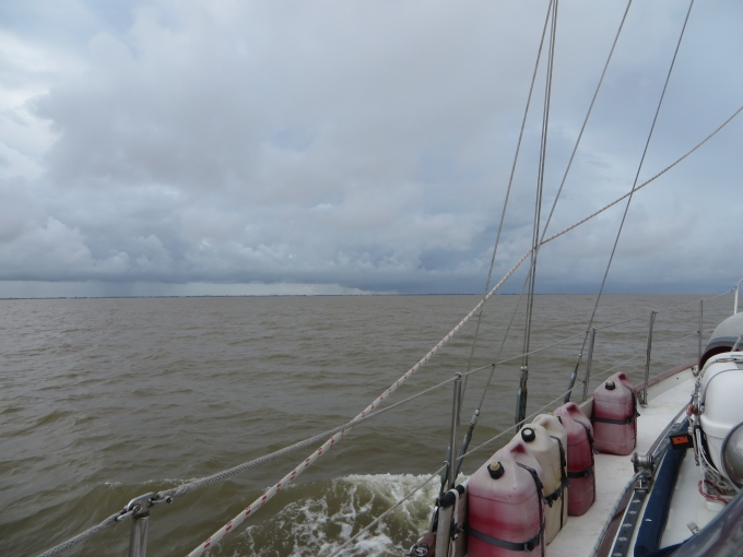 rainclouds at the mouth of the essequibo