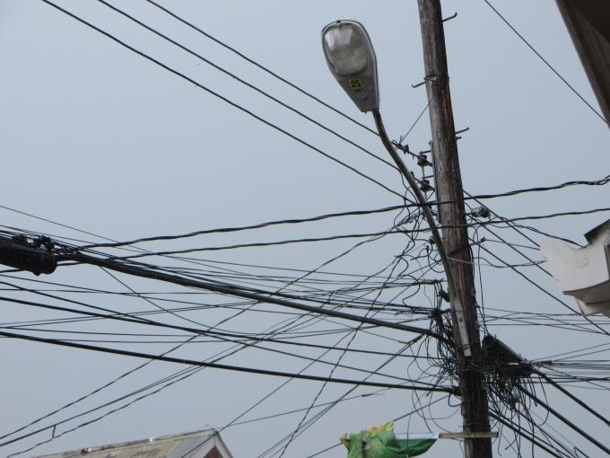 birds nest of power wires in guyana