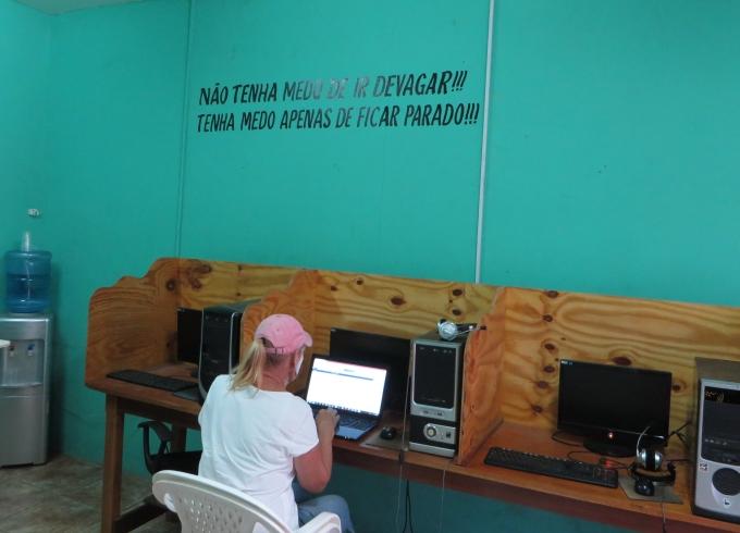 at the internet kiosk in guyana