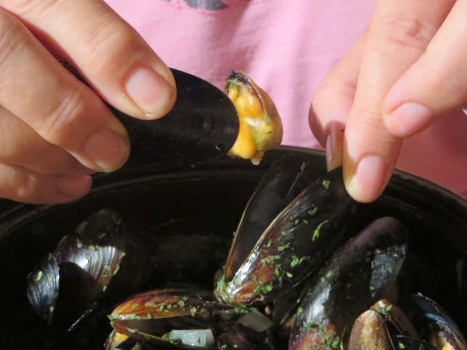 using mussel shells as pincers