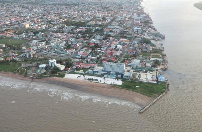 aerial view of georgetown guyana