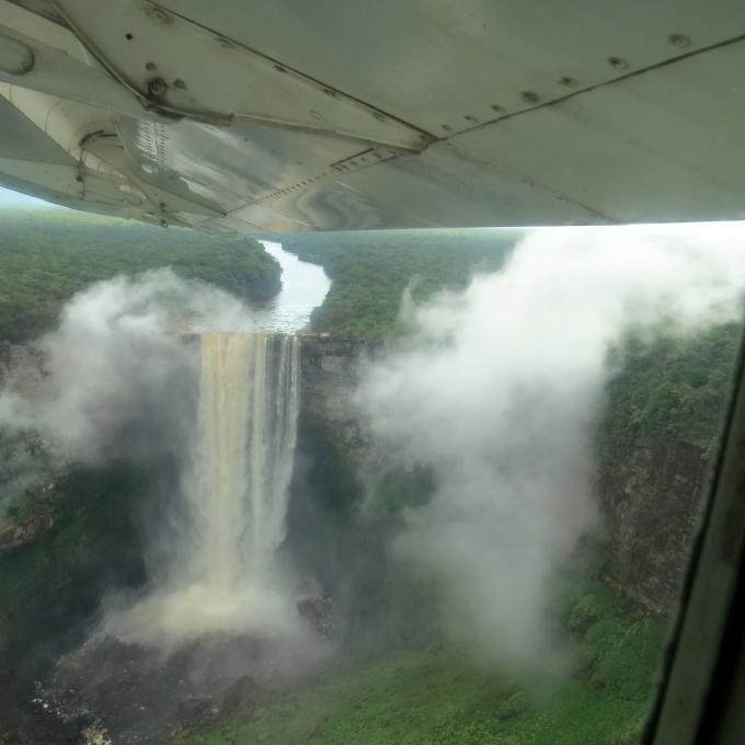 aerial view of kaieteur falls in guyana