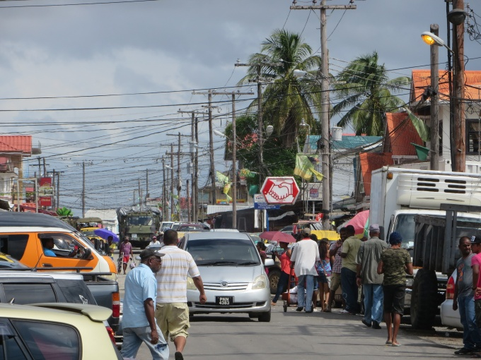 busy first avenue in bartica guyana